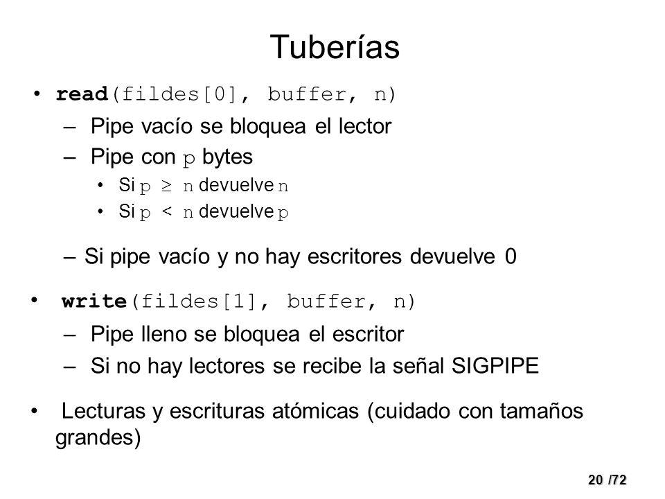 Tuberías read(fildes[0], buffer, n) Pipe vacío se bloquea el lector